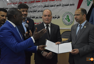 UNFPA Deputy Representative presenting the advocacy statement to Iraqi speaker of the House. UNFPA Photo/2017