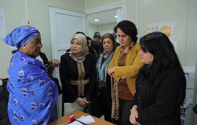 Ms.Bangura with the Center team during her visit to UNFPA supported women center in Dohuk Governorate, Kurdistan Region, Iraq