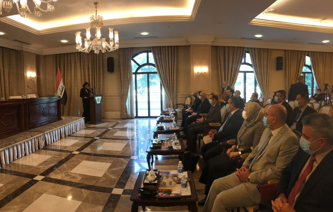 UNFPA Representative to Iraq, Dr Rita Columbia speaking at the conference