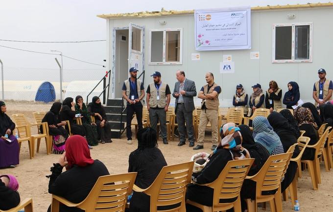 Dr.Luay Shabaneh, UNFPA Arab States Regional Director and UNFPA Representative in Iraq Mr.Ramanathan Balakrishnan visiting UNFPA supported Women center in Hamam Aleel camp, Mosul, Iraq