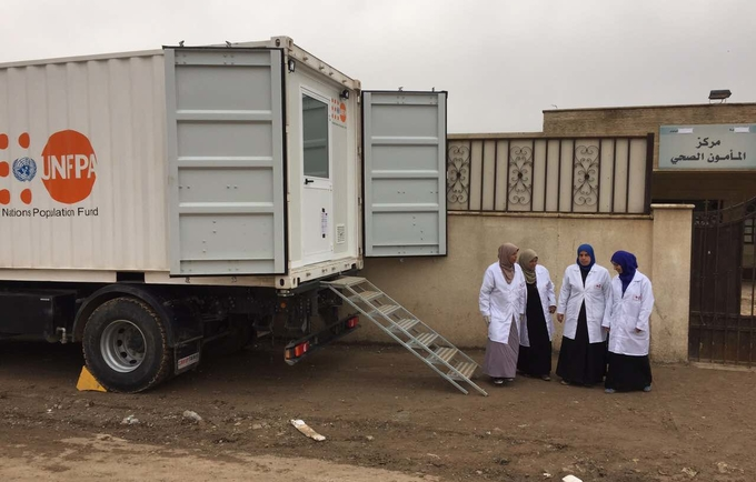 The medical team of the UNFPA Mobile Delivery Unit in Al-Mamoun District in West of Mosul, Iraq