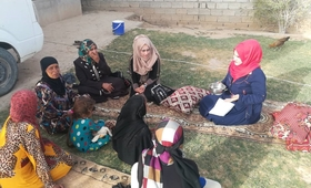 Outreach GBV response teams provide PSS to women and girls inside Hawija district on October 1st. Credits: IHAO