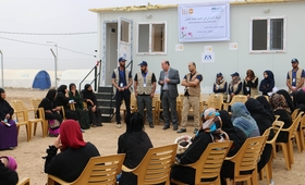Dr.Luay Shabaneh, UNFPA Arab States Regional Director and UNFPA Representative in Iraq Mr.Ramanathan Balakrishnan visiting UNFPA supported Women center in Hamam Aleel camp, Mosul, Iraq