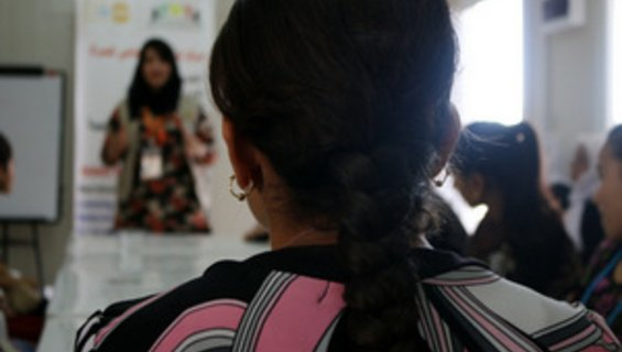 An adolescent girl attending a session on early marriage in one of UNFPA supported Women Centers