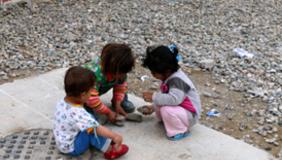 A group of children playing in one of UNFPA supported safe spaces for women